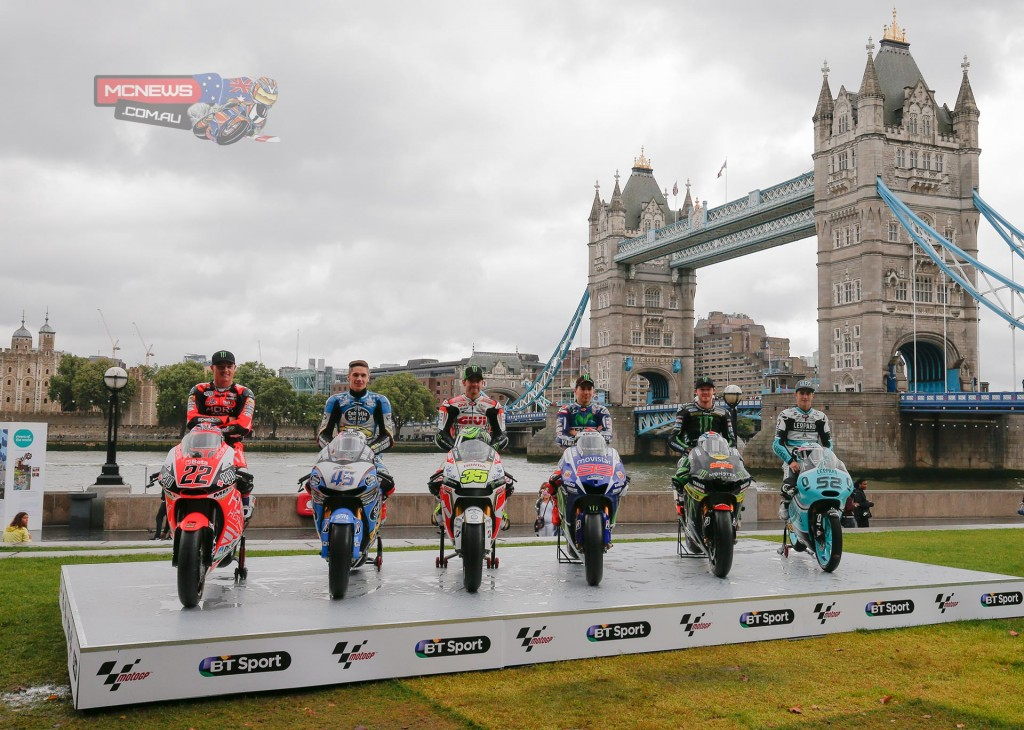 MotoGP riders and machines in front of London's Tower Bridge