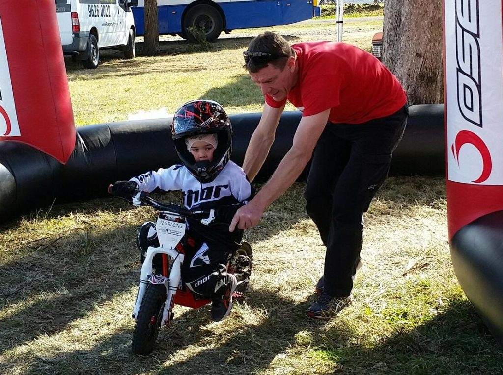 Oliver Winterbottom, son of Pepsi Max Crew V8 Supercar driver Mark Winterbottom, takes part in the Motorcycling Australia Junior Come and Try clinic on the weekend