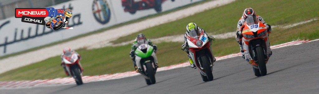 World Supersport action at Sepang WorldSBK 2015 - Jacobsen (USA) leading the way ahead of Cluzel (FRA), Sofuoglu (TUR) and Zanetti