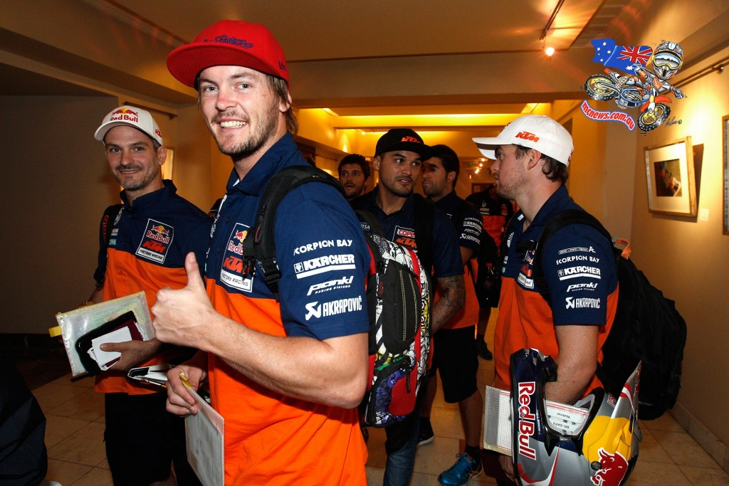 Toby Price pictured in briefings for the 2015 Atacama Rally