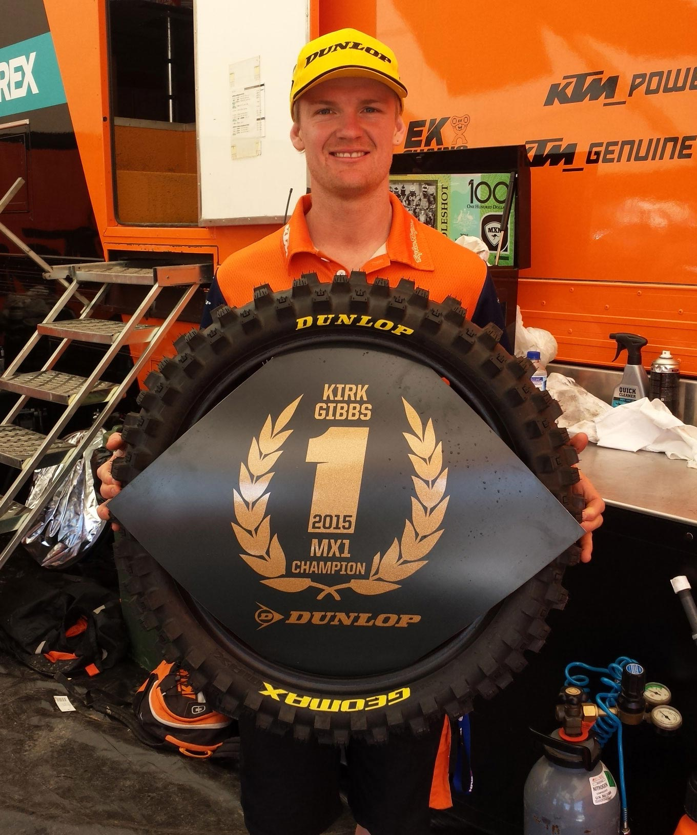 Kirk Gibbs won the 2015 MX Nationals MX1 Championship on Dunlop Geomax