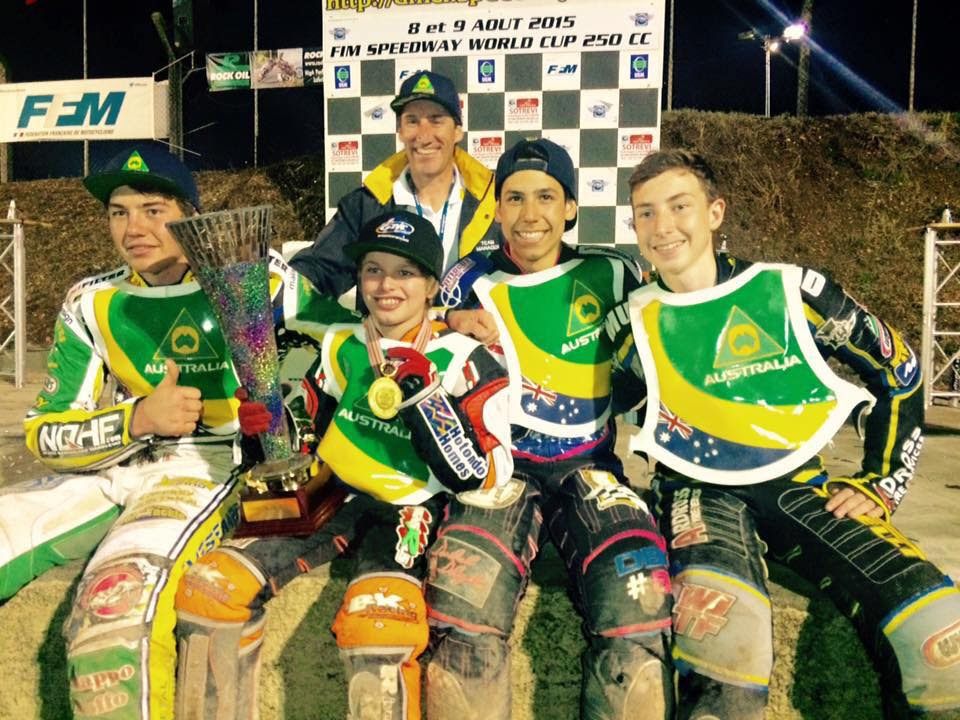 L-R- Brody Eves, Matthew Gilmore, Team Australia Manager Mark Lemon, Dakota Ballantyne and Matt Marson celebrate Gilmore's victory at the FIM 250cc Youth Speedway World Cup in Lampthe-Landerron, France last month (Credit: Dakota Ballantyne Racing/Facebook)