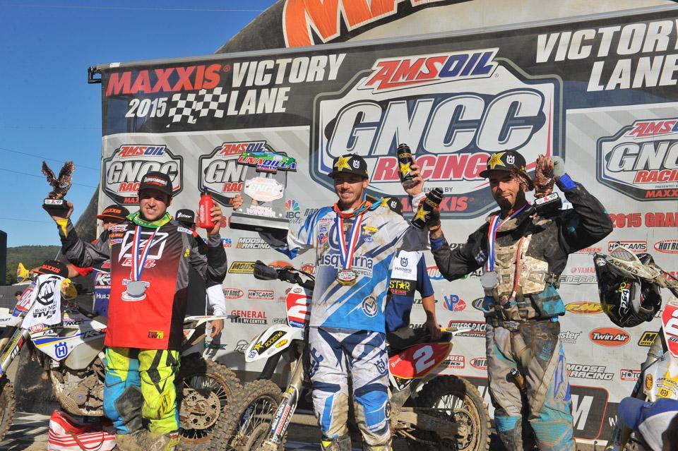 GNCC Unadilla XC1 Podium: (1) Josh Strang, (2) Thad DuVall, (3) Ryan Sipes Photo: Ken Hill