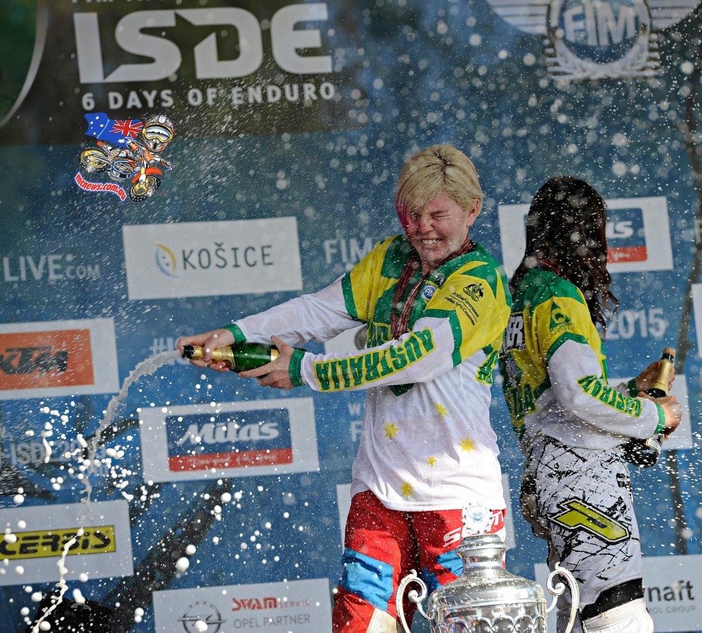 The Aussie Women spray the champagne on the ISDE podium