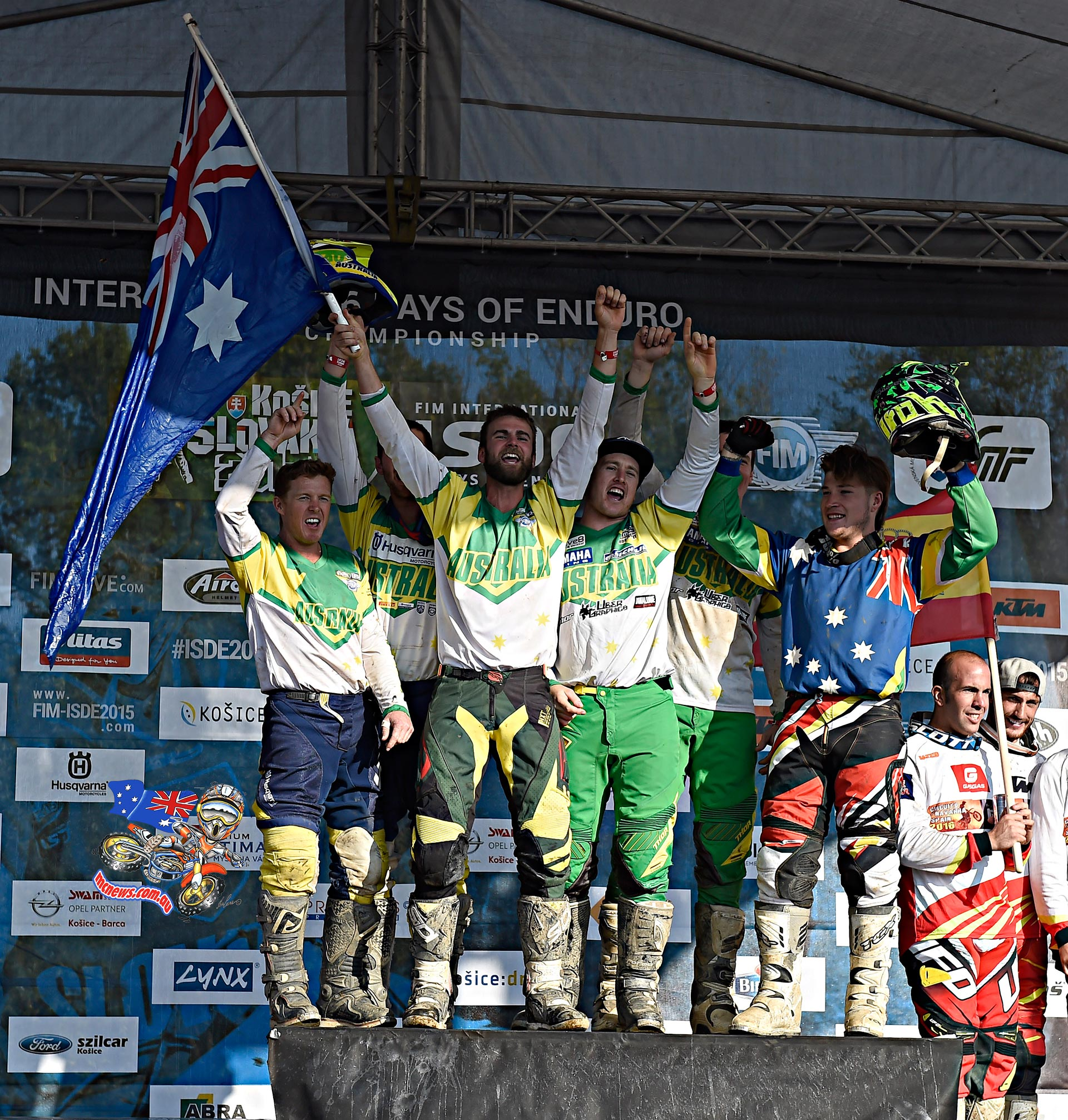 Australia climbed to the top step of the podium and chanting Aussie-Aussie-Aussie, as Spain looked on and France were yet to mount the podium to claim the top spot on the rostrum.