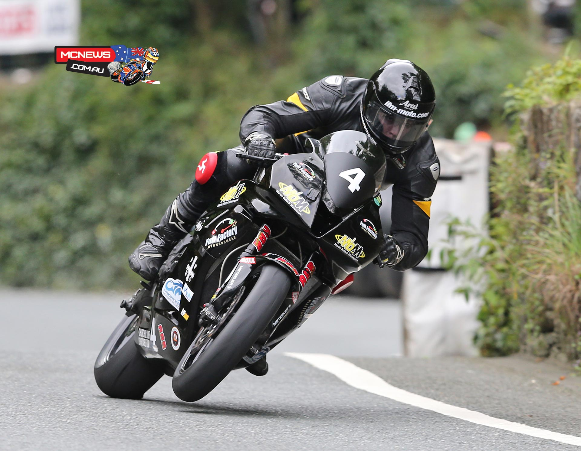 Billy Redmayne on the Martin Bullock Motorsport Honda CBR600RR at Union Mills during the Mylchreests Group Junior Manx Grand Prix race.