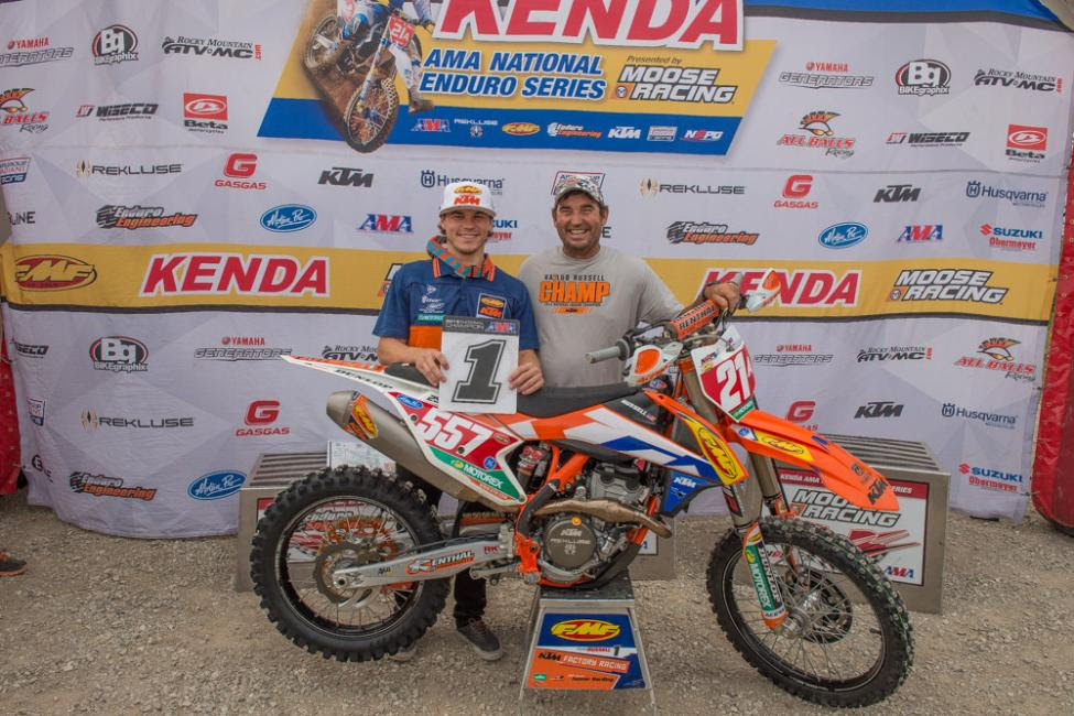 Kailub and Jeff Russell have become the only father son duo to earn National Enduro Championships. Photo: Shan Moore