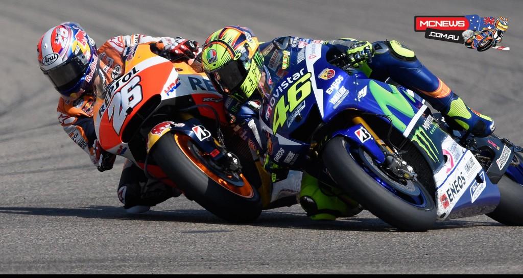 Dani Pedrosa and Valentino Rossi - Aragon 2015