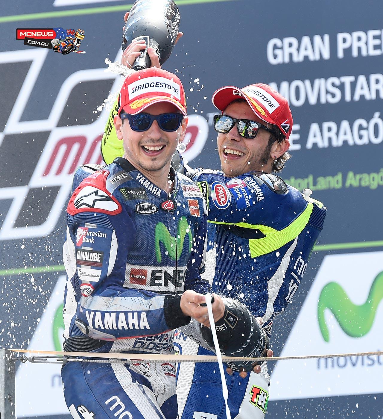 Jorge Lorenzo and Valentino Rossi - Aragon 2015