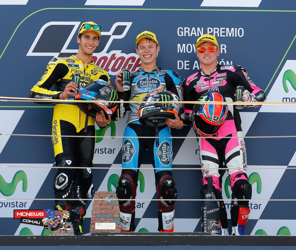 Tito Rabat takes only his second win of the season after a race long battle with local hero Alex Rins at the Gran Premio Movistar de Aragón.