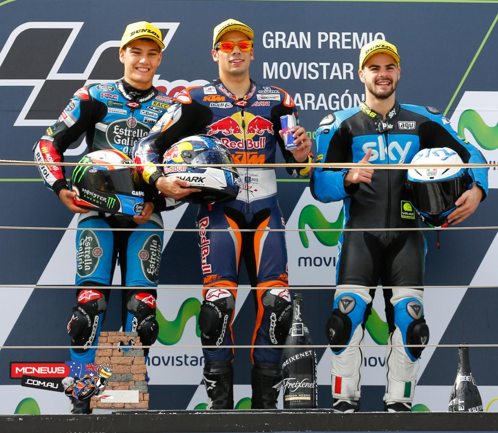 Miguel Oliveira took the race win at Aragaon in 2015 as title rivals Enea Bastianini and Danny Kent crashed out on the final lap at the Aragon GP.