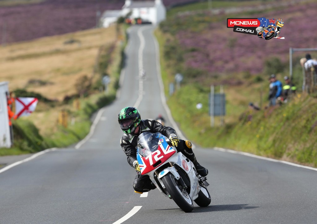 Elwyn Fryer on the South Coast Appliances/Honda at the Creg ny Baa during the IMGold Manx Grand Prix Newcomers Race.