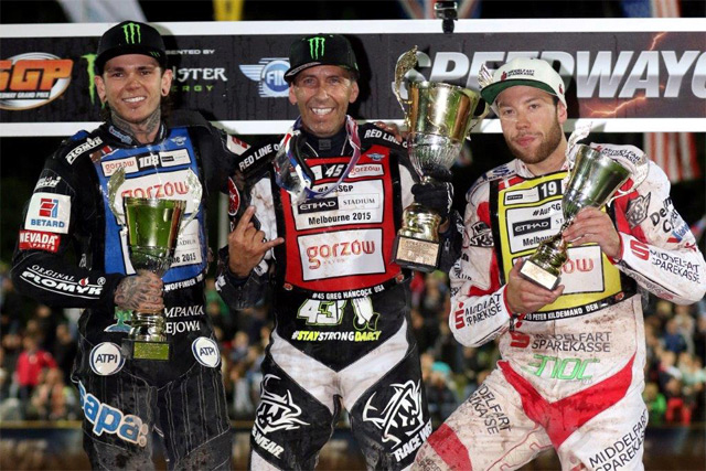 World champion Greg Hancock racked up 20 points out of a possible 21 after topping the rostrum at the Slovenian SGP ahead of Great Britain's World Championship leader Tai Woffinden, Danish international Peter Kildemand