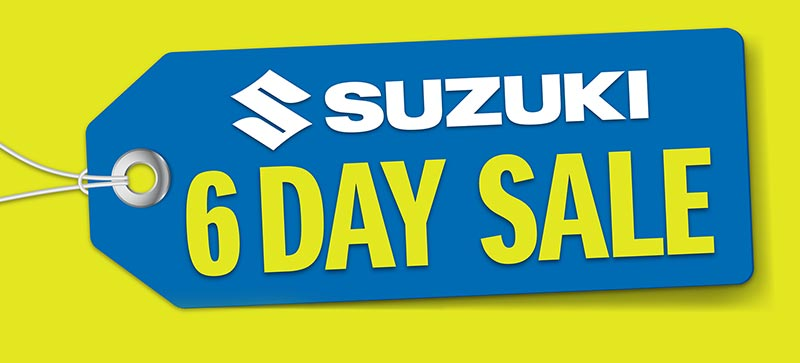 Suzuki's 6 Day Sale kicks off Monday 14th September, offering fantastic deals on every model in the Suzuki's Motorcycle and ATV lineup.