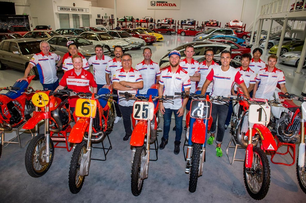 Team HRC and the Honda line-up at the American Honda museum
