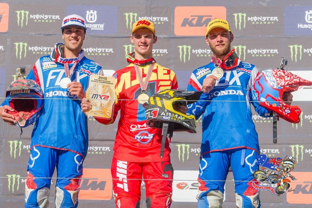 Honda won the 2015 FIM Motocross MX2 World Championship gold plate with Gariboldi's Tim Gajser while Gautier Paulin and Evgeny Bobryshev finished the 2015 MXGP season placed second and third respectively in the World Championship.