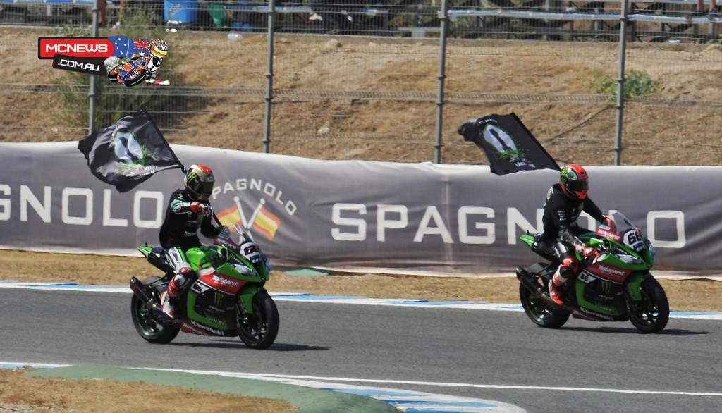 Jonathan Rea and Tom Sykes celebrate Kawasaki winning the Manufacturer-s Championship