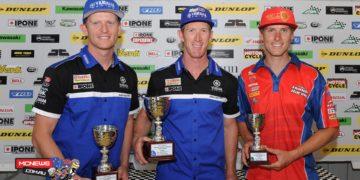 Swann Australasian FX Superbike Championship 2015 - Round Six - Winton Motor Raceway - Superbike Podium - Wayne Maxwell, Troy Herfoss, Glenn Allerton