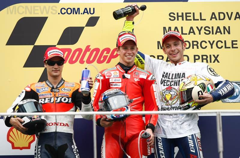 MotoGP Malaysia 2009 Podium - Casey Stoner, Dani Pedrosa and Valentino Rossi