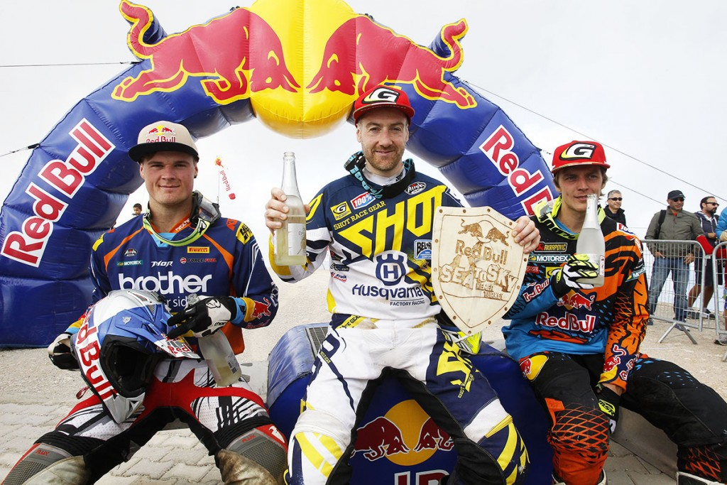 Graham Jarvis on top of the podium at the Sea to Sky Enduro