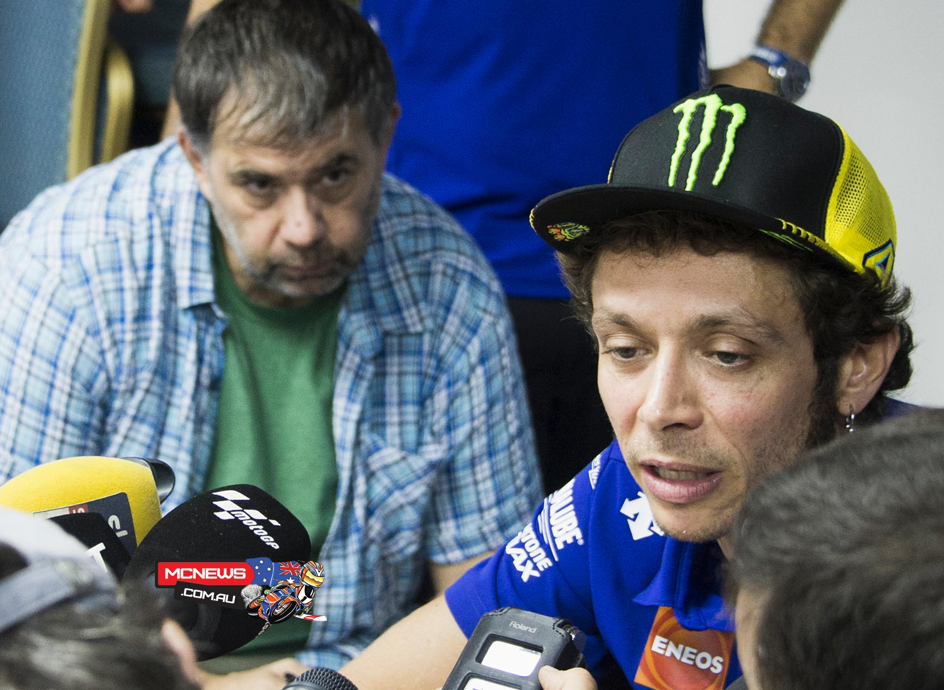 Valentino Rossi talks to the media about the Sepang MotoGP incident