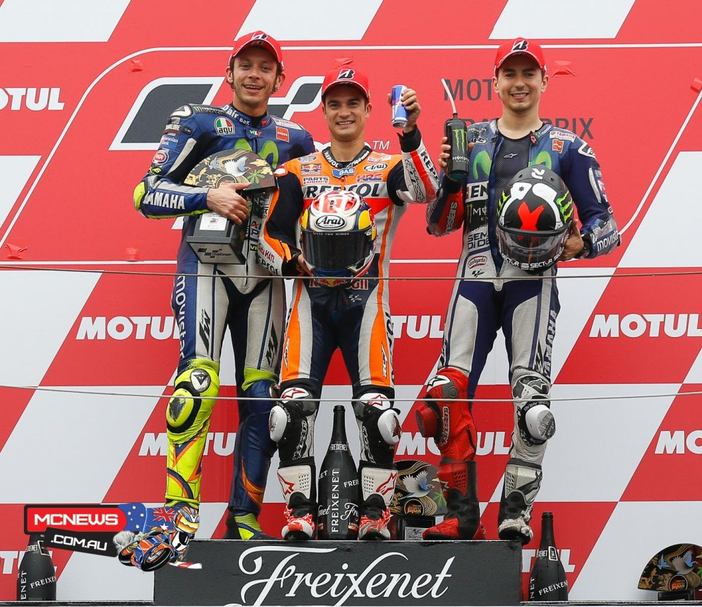 Dani Pedrosa won the 2015 Grand Prix of Japan, while Rossi and Lorenzo also stood on the podium.