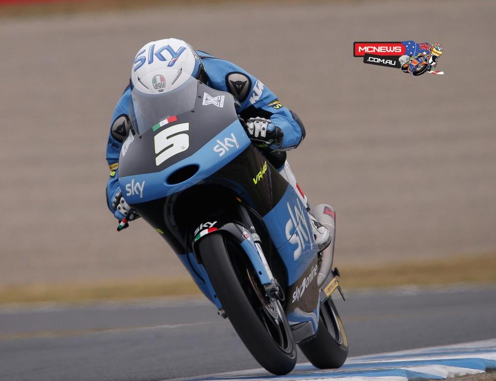 Romano Fenati took his career first pole position after setting a new lap record at Motegi ahead of Niccolo Antonelli and Enea Bastianini.