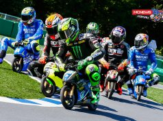 A number of riders got involved in some racing action on Thursday before the on-track action officially starts in Japan as they took part in an electric mini bike race.