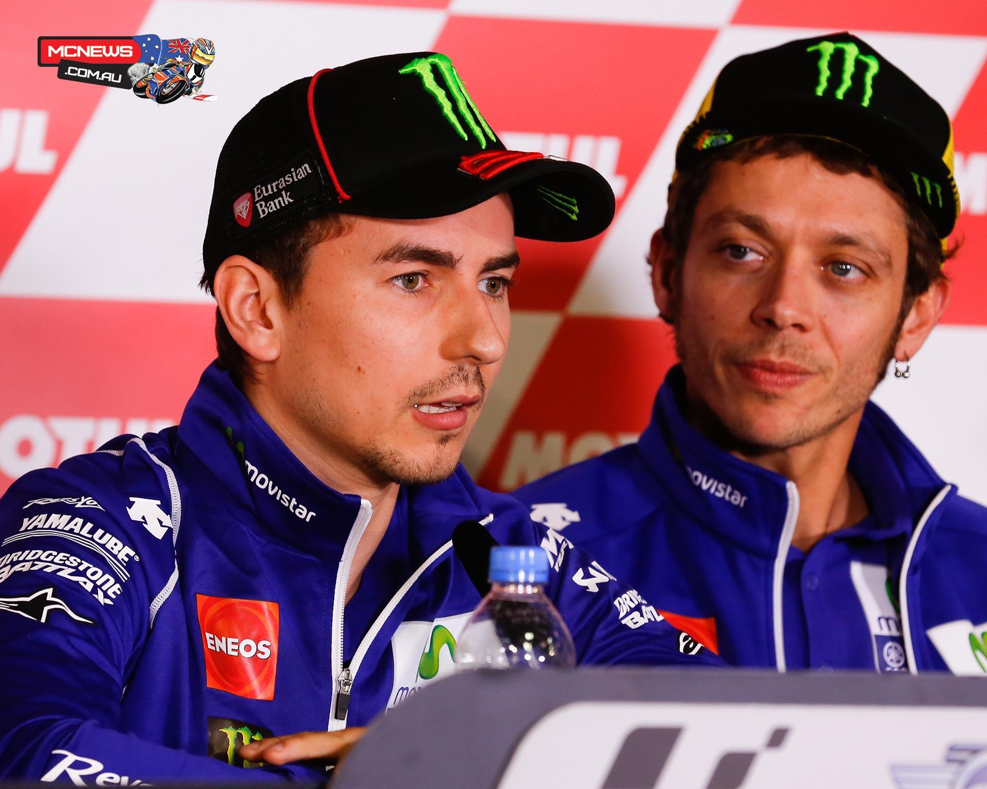 Yamaha's Valentino Rossi and Jorge Lorenzo