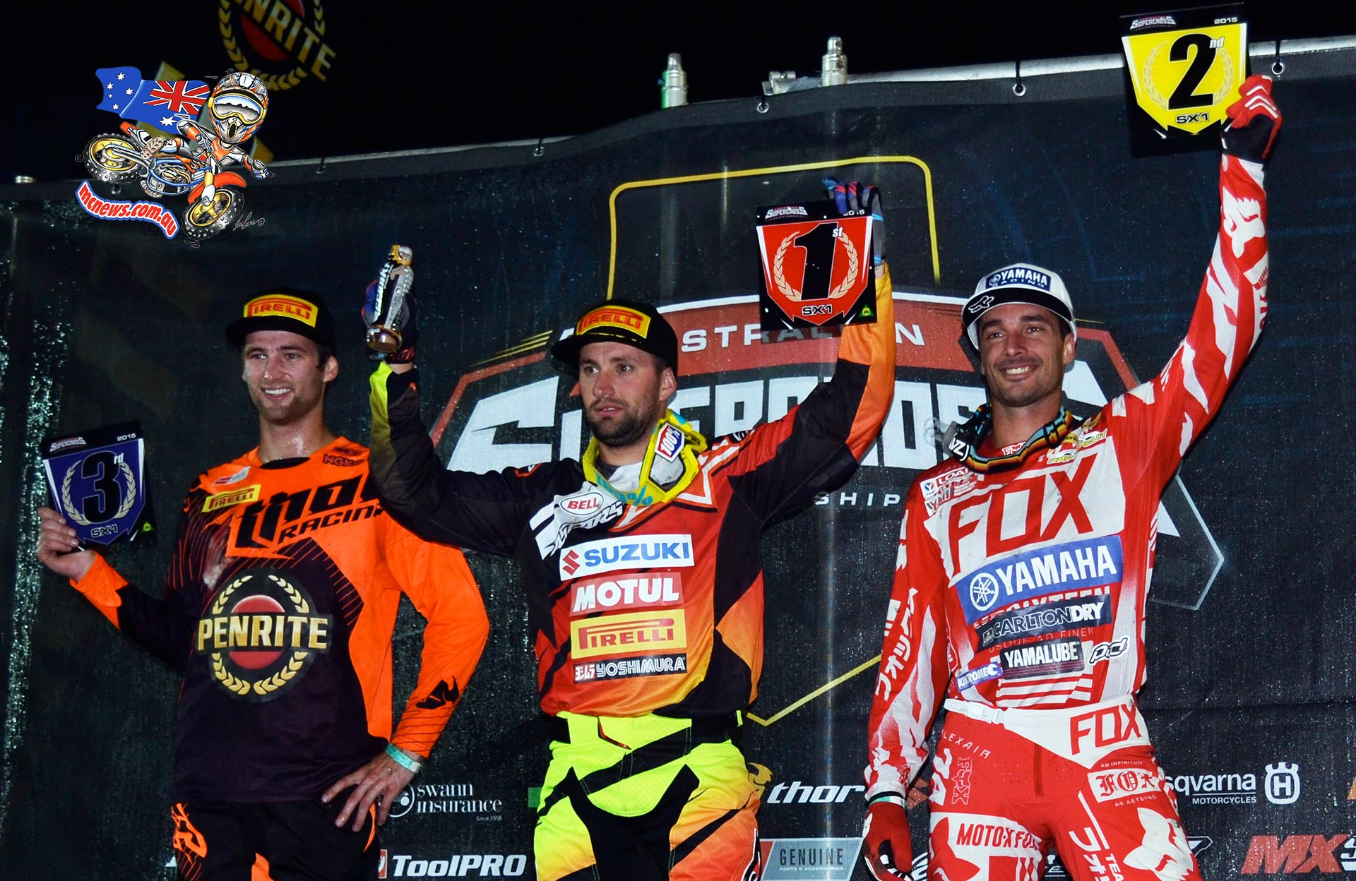 SX1 Podium: L-R Gavin Faith (3rd), Matt Moss (1st) and Dan Reardon (2nd) share the spoils atop the SX1 podium at 2015 Australian Supercross Championship opening round at Bathurst, NSW.