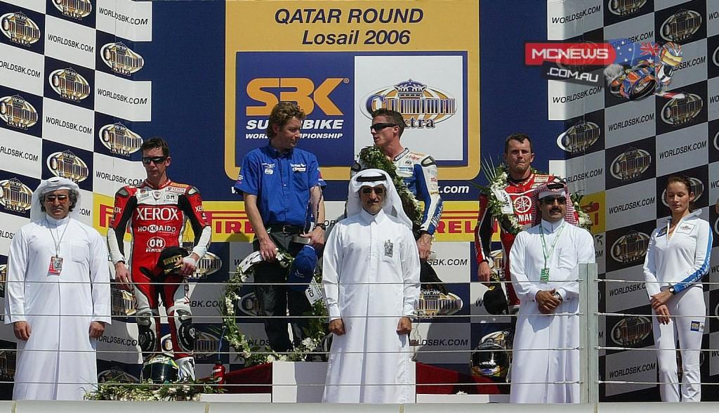 2006 World SBK Qatar Race 1 2- Troy Bayliss (AUS) 1- James Toseland (GBR) 3- Andrew Pitt (AUS)