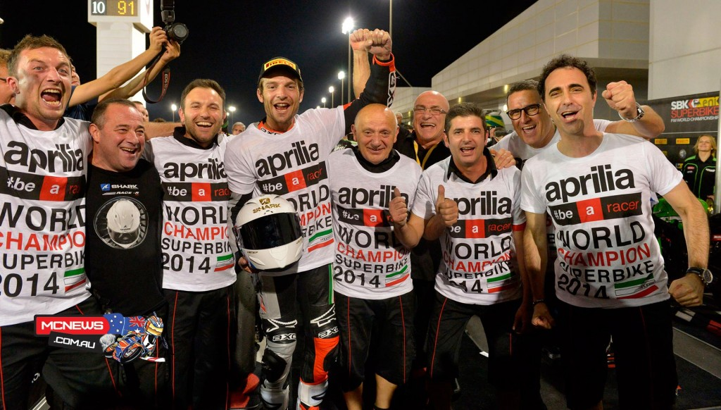 Sylvain Guintoli celebrates 2014 WorldSBK Championship win after doing the double in Qatar