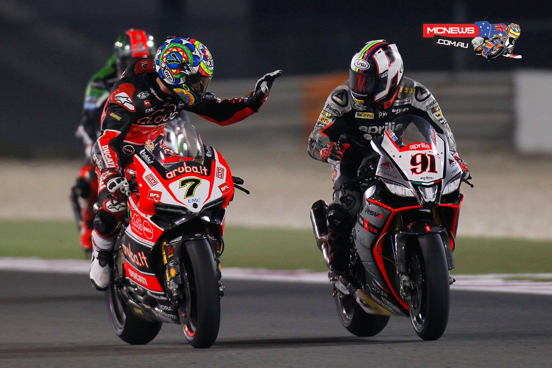WorldSBK Qatar 2015 Chaz Davies and Leon Haslam