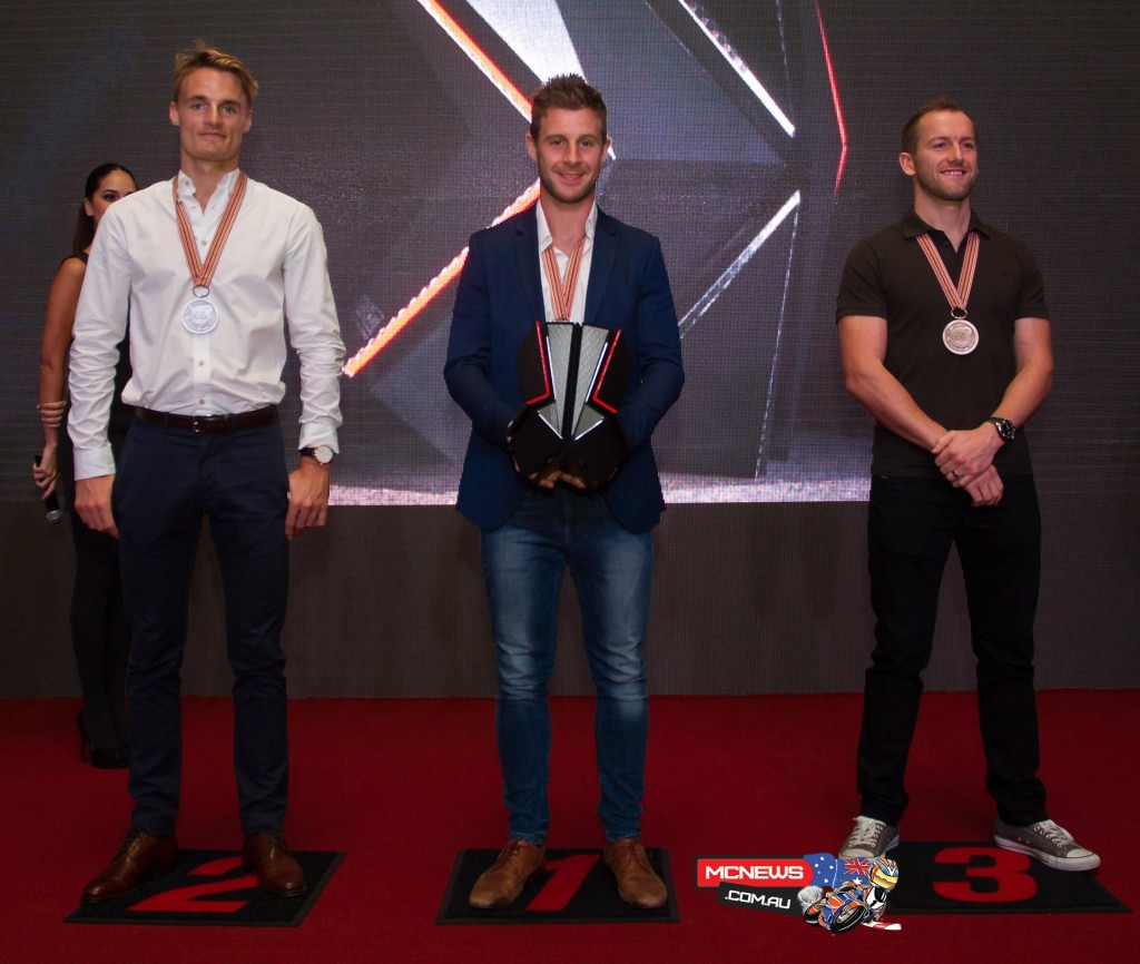 Champion Jonathan Rea (Kawasaki Racing Team), Chaz Davies (Aruba.it Racing-Ducati Superbike Team) and Tom Sykes (Kawasaki Racing Team), were named as respective runner-up and third classified rider in the WorldSBK category.