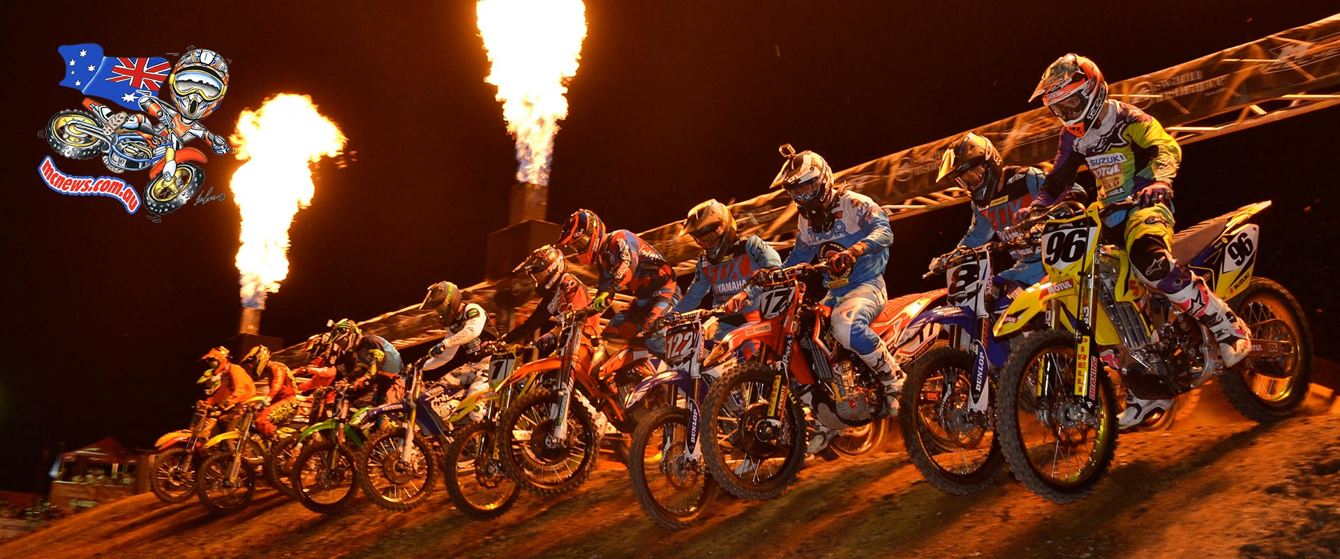 An elevated startline added to the excitement of another action-packed round of Australian Supercross Championship racing at Jimboomba X Stadium.