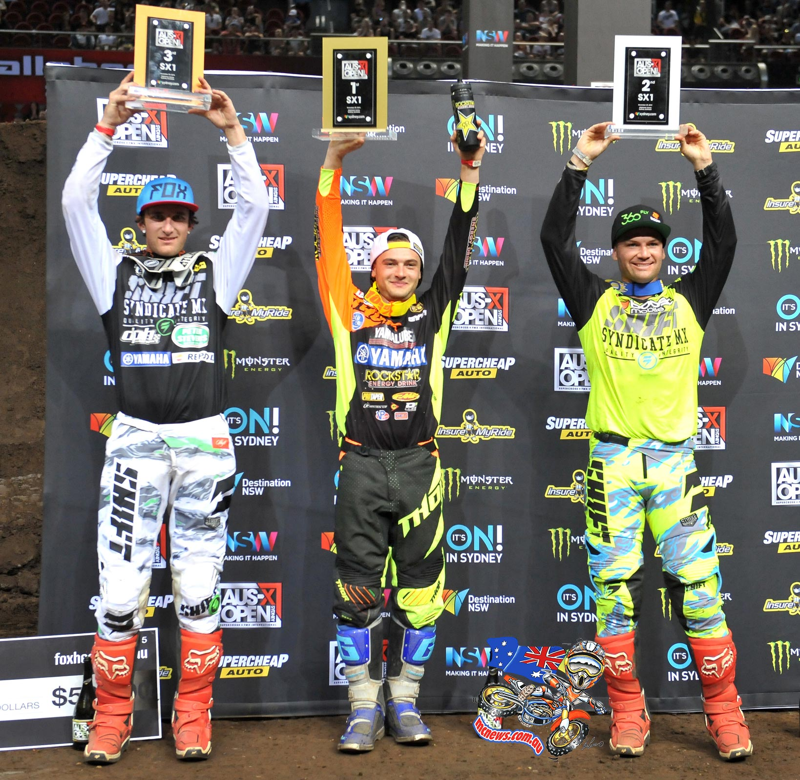 AUS-X Open podium (left to right: Lawson Bopping, Cooper Webb, Chad Reed)