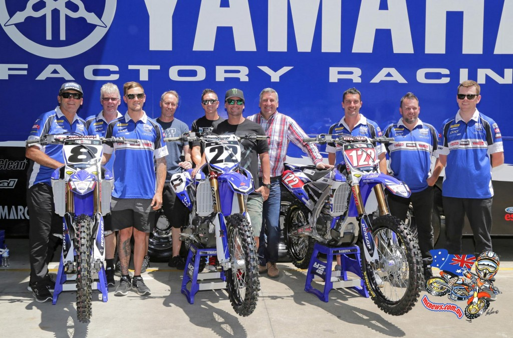 Chad Reed met the local CDR Yamaha team – which includes SX1 Australian Supercross Championship front runners Dan Reardon and Kade Mosig –  he will race with at the AUS-X Open Supercross during a special visit to Yamaha Motor Australia's Sydney headquarters yesterday. Photo: Courtesy Yamaha