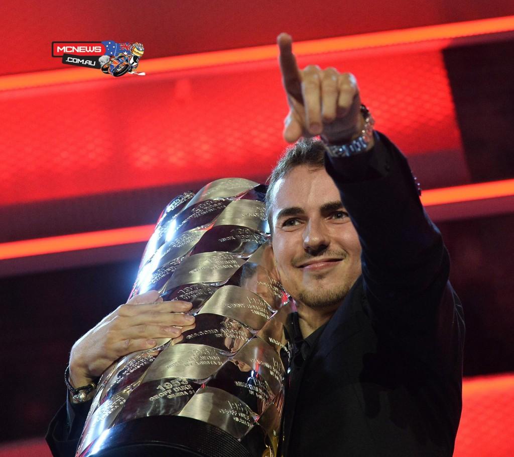 FIM Awards Ceremony 2015, Jorge Lorenzo was presented with the MotoGP World Champion trophy after an incredibly dramatic end to the season.