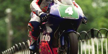 John McGuinness at Ballaugh Bridge on his way to winning the 250cc race
