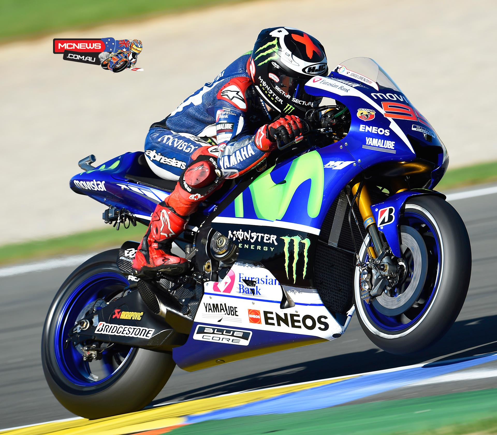 Jorge Lorenzo smashed the lap record on his way to pole ahead of Marquez and Pedrosa, as Rossi crashes and finishes Q2 in 12th.