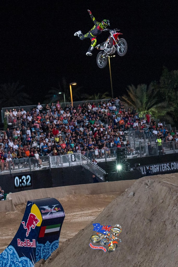 Josh Sheehan of Australia performs at the final stage of the Red Bull X-Fighters World Tour in Abu Dhabi, United Arab Emirates on October 30, 2015