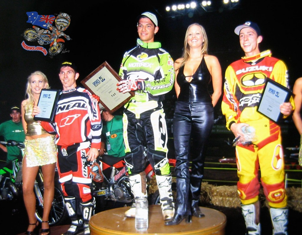 Flashback to 2001 and Chad Reed (centre) stands atop the podium with Travis Pastrana (right) and Cameron Taylor (left) after the Supercross Masters grand final at Homebush's then named Sydney Superdome ... yes, 14 years ago! Reed has been winning for a long, long time. Photo: Clubby