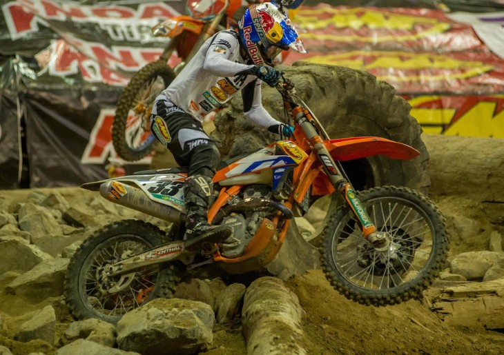 Taylor Robert played spoiler. Robert had Webb in his sights by the midway point and eventually got around the leader and ran off with the win, his first AMA EnduroCross of the year and the second of his career.