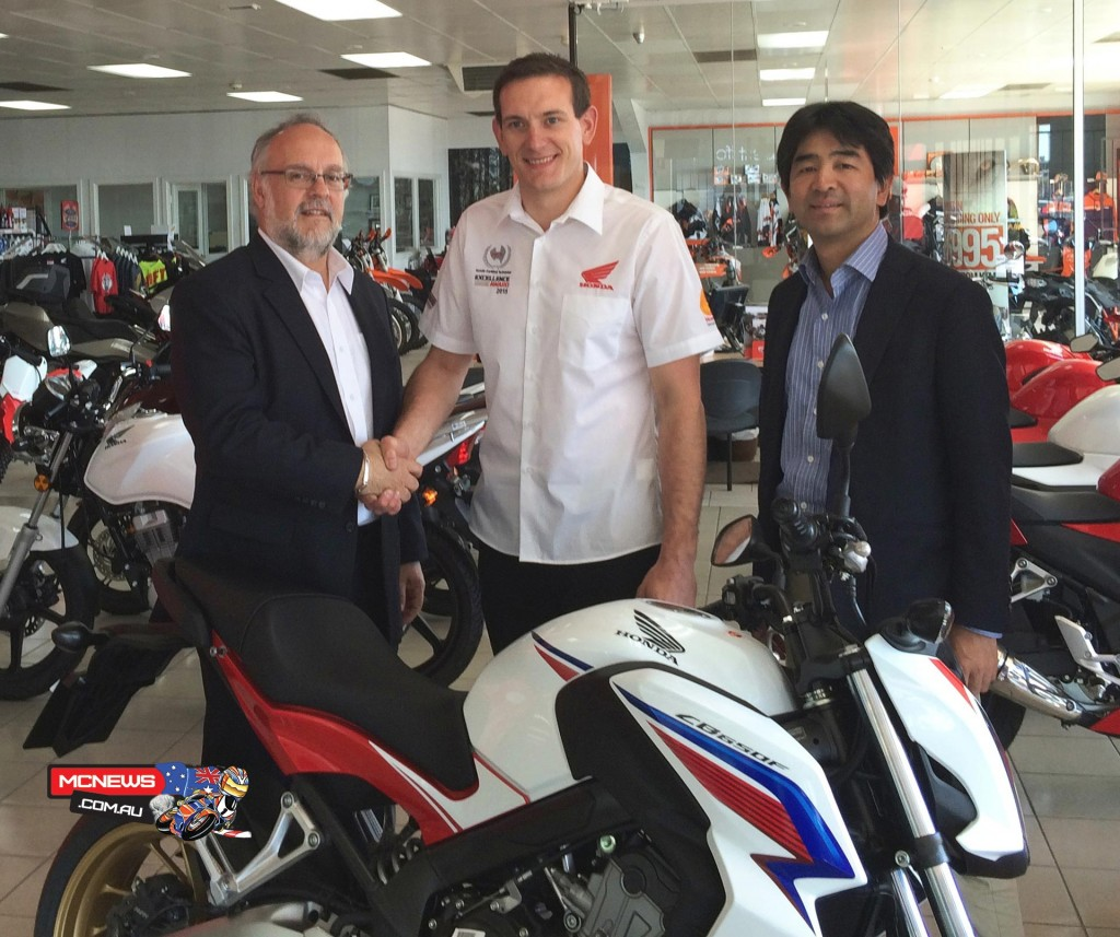National winner Tom Ames, who works at South Australia's Moto Adelaide service centre, also received a brand new Honda CB650F.