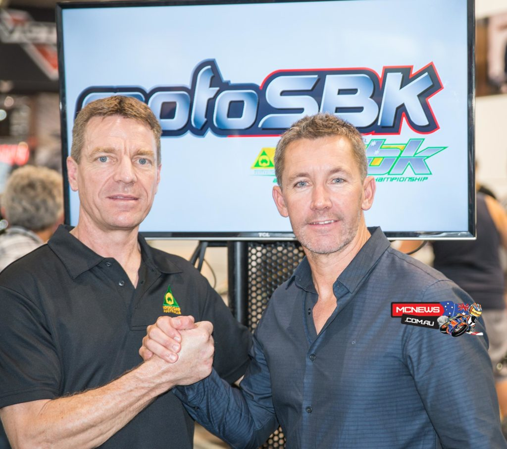 Troy Bayliss and Motorcycling Australia board member Peter Goddard announce the future direction of the Australian Superbike Championship together at the Sydney Motorcycle Show