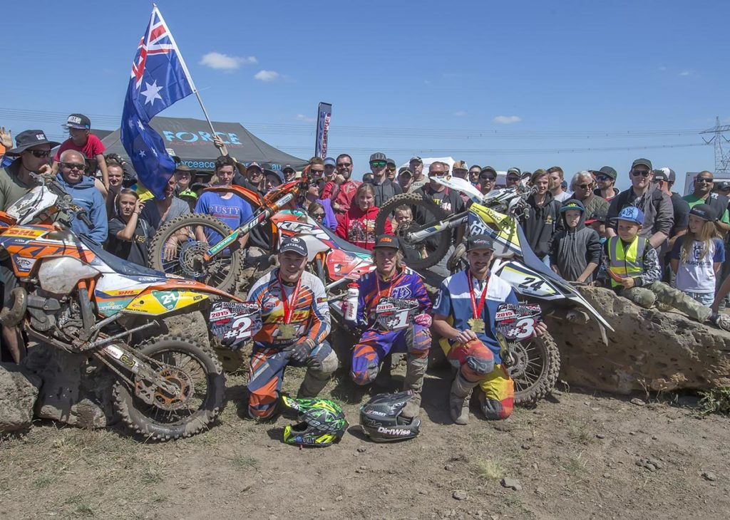 KTM riders dominated the podium at the 2015 Wildwood Rock Extreme enduro with Daniel 'Chucky' Sanders (centre) winning the event from (left) Matthew Phillips, and Mitch Harper. Mad Dog Images