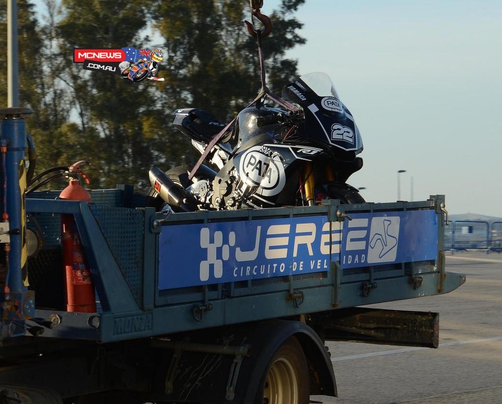 Alex Lowes crashed YZR-R1M - WorldSBK Testing November 2015