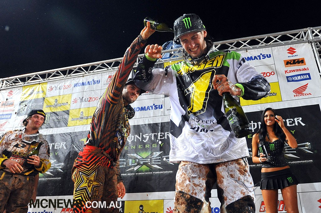 2010 Super-X Finale - Brisbane - Jay Marmont and Josh Hansen spray the champagne - Image by Jeff Crow