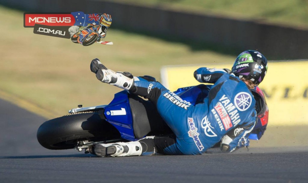 Wayne Maxwell goes down at turn nine while battling for seventh place on lap two - Image by Steve Thibou