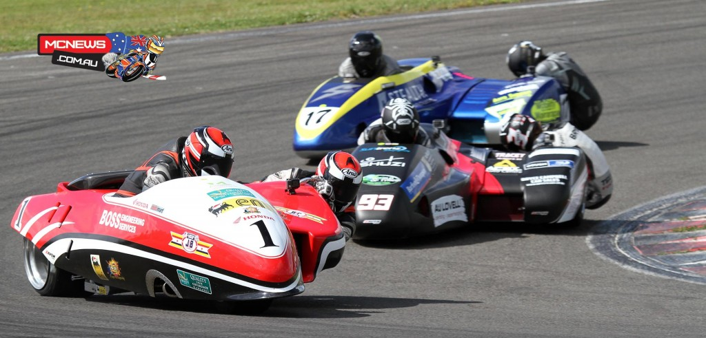 Sidecar racing is always entertaining, here Adam Unsworth leads Aaron Lovell & Spike Taylor at Manfeild
